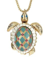 Pendant Necklace $65 New 885043580968 Betsey Johnson Gold Tone Turtle Locket