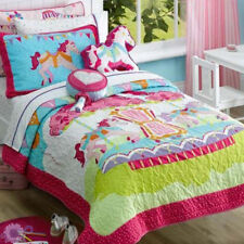 Fairground Kids Quilted Coverlet + Horse Shaped Cushion | fit Single King/Single