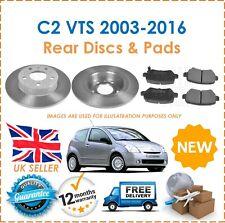 For Citroen C2 VTS 2003-2016 Two Rear Solid 247MM Brake Discs & Brake Pads Set