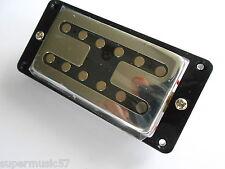 Chrome chitarra collo H Tostapane Humbucker Pickup con NERO SURROUND & tutte le viti
