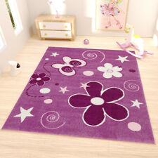Kinder Teppich Modern versch Größen Lila Blumen Sterne NEU carpet