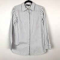 Lafayette 148 Blue Striped Button Up Top Shirt Long Sleeve Oversized Small