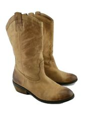 Jessica Simpson Women's Western Cowboy Boots 9 Tan Distressed Leather Rosanna