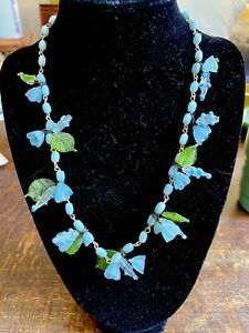Vintage Italy MURANO Glass Bird & Leaf Venetian Bead Necklace Blue Green.