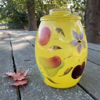 Vintage BARTLETT COLLINS Glass Cookie Jar in Yellow Bright flowers and fruit