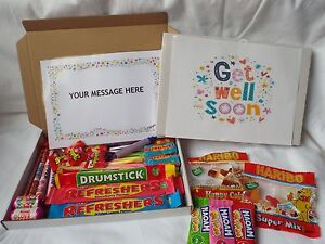45 PIECE RETRO SWEETS GIFT BOX GET WELL SOON FREE PERSONALISED MESSAGE