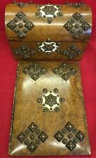 Antique Arts And Crafts Burr Walnut Blotter And Stationary Box Bronzed Brass
