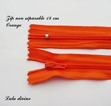 Zip/ Fermeture éclair simple non séparable de 18 cm, Couleur Orange