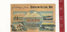 Vintage 1940 large letter linen Greetings Geneva-on-the-Lake post card  FRE SHIP