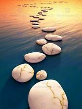 STEP STONES SUNSET WATER SURREAL PHOTO ART PRINT POSTER PICTURE BMP971B