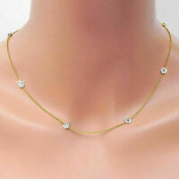 "0.75ct Round Diamond Station Necklace With By The Yard 18"" In 14k Yellow Gold Fn"
