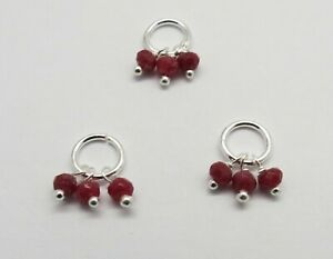 9 Pieces Silver Pendants Earrings Charms Ruby Gemstone 3mm Beads Dangles