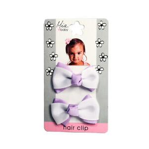 Mia Baby + Girl Classic Grosgrain Ribbon Bow Barrettes, Small Size 2pcs