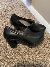 Dansko Leather Heeled Clogs Black With Stitching Accent-size 38 Excellent Cond
