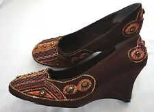 Women's Nomad Brown Multi-Colored Embellished Bead Wedge Slip On Shoes Sz 7 NWOB