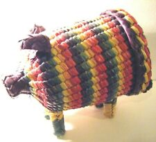 Vintage Woven Raffia Boho Tiki Bright Multi Coloured PIG Shaped Storage Basket