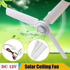 12V 20'' Solar Ceiling Fan Portable 3 Blade w/ 6W Switch Camping Caravan 330 RPM
