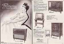altes Faltblatt PAWERPHON um 1957 Hi Fi TRAUMTON Serie, Konzerttruhe  ( 4800