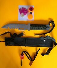 Survival Hunting Knife & Fire Starter Kit Emergency Earthquake Doomsday Prepper