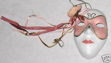 """Pink White Ceramic 4"""" Face Mask w Right Flowers"""