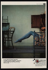 1966 LINDE STARS Jewelry - Sexy Womans Leg Wearing Blue Stockings - VINTAGE AD