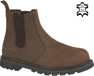 Mens Leather Chelsea Safety Boots Steel Toe Cap Pull On Dealer Work Boots Shoes