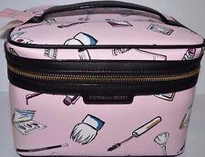 VICTORIA'S SECRET BEAUTY TRAIN CASE MAKEUP BAG PINK COSMETIC PRINT CARRIER $59