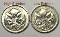 🇦🇺2x 1984 Low Echidna High Echidna Australian 5 Cent Coins Variety📮FREE Post