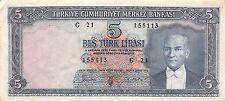 Turkey  5 Lira  4.1.1965  P 173a  Series G 21 circulated Banknote A19