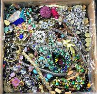 Vintage Now Jewelry 3 Lbs Lot Junk Harvest DIY Rhinestone Brooch Chain Bead Art