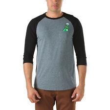 NEW Vans Men's M SIXTY SIX PACK Raglan T-Shirt 3/4 SLEEVE BASEBALL BLACK GREY