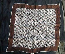 Vintage scarf brown white Womens  geometric mod square Bohemian hollywood glam