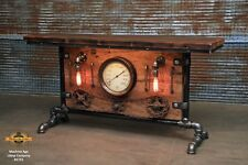 Steampunk Industrial Machine Age Steam Gauge Table Stand Bar Console