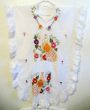 VINTAGE MEXICAN WHITE GAUZE COTTON FLORAL EMBROIDERED BIRDS CAFTAN DRESS