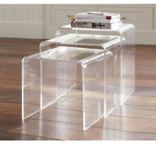 3pc Acrylic Perspex Nesting Tables Side Coffee Table Set Display Steps Clear New