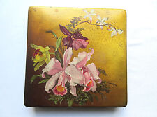 Old French mache cardboard box, painted orchids, Napoleon Iii