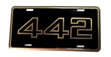 1985-87 Oldsmobile Cutlass 442 Stamped Aluminum License Plate Tag Black & Gold