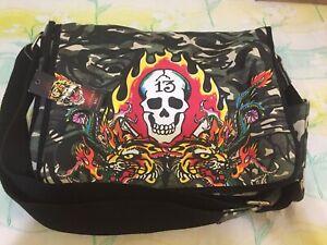 NWT Ed Hardy Christian Audigier Khaki Camo Tiger Bay Shoulder Messenger Bag