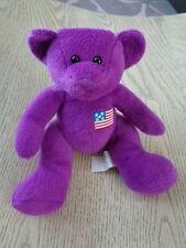 "Bear Purple American USA Flag on chest stufed plush 6"" sitting bean bag Giftco"