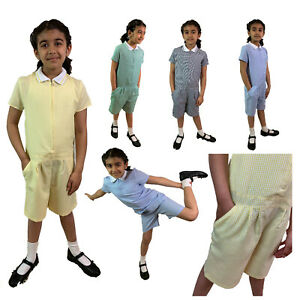 PLAYSUIT Uniform School Summer Dress Check Gingham Girls School, Age 3- 14