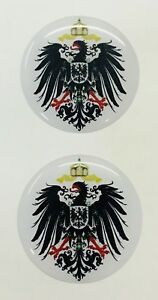 """German Empire Seal Roundel 2x Small 3D Gel Stickers 3cm (1.2"""") Domed for Phone"""