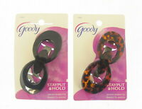 QUALITY X 2 GOODY HAIR CLIP SLIDE BARRETTE SCHOOL SPRING CLIPS  BLACK/TORT