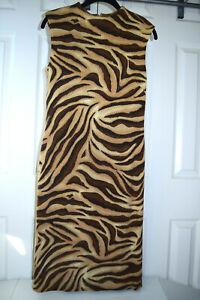 Vintage 60s David Warren Sheath Dress Sz S Tazmanian Tiger Brown Tan Mohair