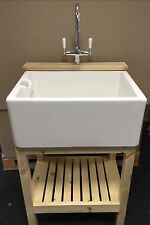 Complete Set , Wooden Stand , Belfast Sink & Lever Tap - Ideal Utility /Kitchen