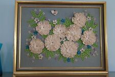 Large Vintage Retro Bohemian 1960s 3-D Felt Flower Power Art Picture Handmade