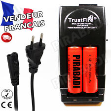 2 PILES ACCUS RECHARGEABLE 18650 3.7V 4800mAh + CHARGEUR TR-001 TRUSTFIRE RAPIDE