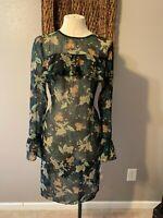 Donna Morgan Long Sleeve Black Hunter Green Floral Print Dress 12 NWT  ^