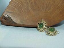Vintg 14k Cabochon Jade Jadeite Seed Pearl Earrings Filigree Wires Yellow Gold