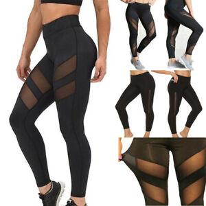 Women's High Waist Yoga Pants Black Mesh Leggings Gym Sportswear Jogging Fitness