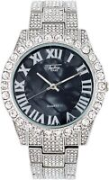 Fully Iced Watch Bling Rapper Simulate Lab Diamond Silver Black Metal Luxury